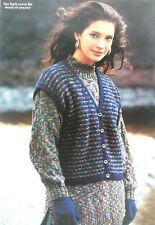 Ladies Waistcoat Long Tunic Sweater Jumper KNITTING PATTERN DK 30 - 40in  5192