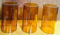 "3 Vintage MCM 6"" Cylinder Amber Swirl Optic Glass Hurricane Candle Lamp Shades"