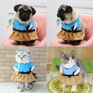 Cute Pet Cats Dogs Halloween Clothes Samurai Funny Cosplay Costume Dress Up New