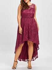 Plus Size XL-5XL Lady Women Dress Dip Hem Lace Sleeveless Evening Party Dress