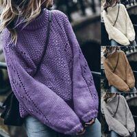 Jumper Women Tops Long Loose Turtleneck Sleeve Pullover Knitwear Knitted Sweater