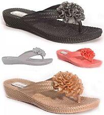 New Ella Women Low Wedge Toe Post Diamante Flower Sandals Ladies Mule Flip Flop