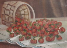 ANTIQUE OIL PAINTING STILL LIFE WITH STRAWBERRIES