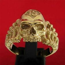 LUCKY NUMBER 13 RIPS BONES SKULL RING - 3 MICRON 18K GOLD PLATING
