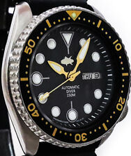 """Vintage Seiko mens watch diver 6309 mod w/new BLACK Mother of Pearl """"Tuna"""" dial!"""