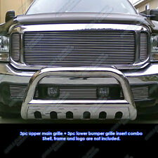 Custom Fits 99-04 Ford F-250/F-350 Super Duty/Excursion Billet Grill Combo