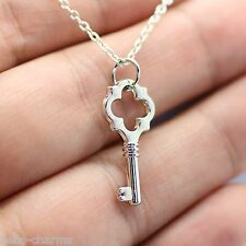 Skeleton Key Charm Necklace - Rhodium Plated Vintage Pendant NEW Lobster Clasp
