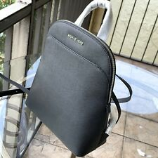 NWT Michael Kors Emmy Signature PVC Large Dome Backpack Bag Purse Black silver