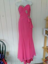 Landa Bright Pink Chiffon Strapless gown Size 6