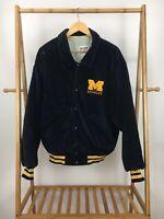 RARE VTG DeLong Men's University Of Michigan Wolverines Corduroy Snap Jacket XL