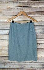 Banana Republic Women's Skirt Size 4 Silk Linen Blend Blue Straight Pencil Lined