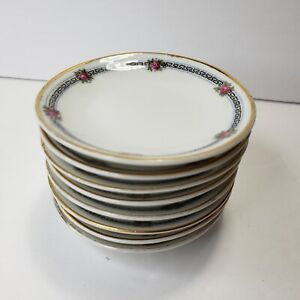 Vintage Bavaria Butter Pats Plates Floral Rose Gold Trim Set of 8