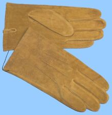 NEW MENS size 9 or Large TAN-GOLD PIG SUEDE LEATHER UNLINED GLOVES shade10522