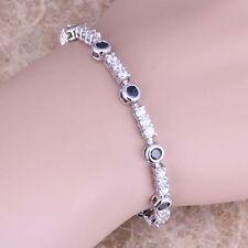 Black Sapphire White Topaz  Silver Link Chain Bracelet 6 - 7 inch S0564
