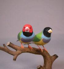 Pair of Gouldian Finches Orig Bird Carving/Birdhug