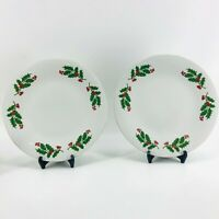 "Christmas Holiday Holly & Berries Gold Gilted Plates Set of 2 10"" White Green"