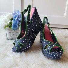 Lilly Pulitzer Navy Polka Dot Peep Toe Wedge Sandals 6 Heels Sling Back Shoes