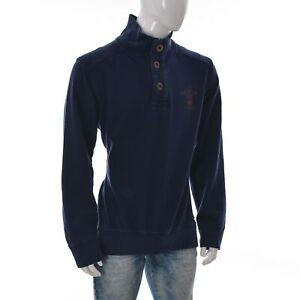 Garcia Jeans Mens Quarter Button Pullover Jumper Sweatshirt Size XXL Navy Blue