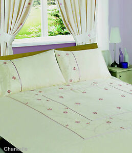King Floral Pink Stripe Border Duvet Cover Bedding Set Quilt Cover Pillowcase