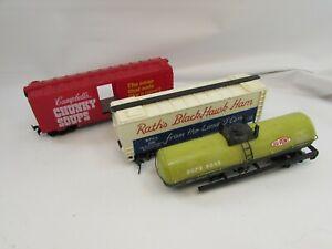 3 HO Scale Rail Cars Chunky Soup Black Hawk Box Tanker 33021 Freight Life Like