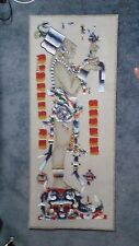 Hand Paintex Mayan Leather Wall Hanging with Inscription on Back Original