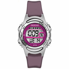 Ladies Timex Marathon Indiglo Digital Alarm Purple Rubber Sports Watch TW5M11100