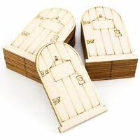 set of 25 Laser-Cut wooden fairy faerie elf doors unpainted with plaque F9W1