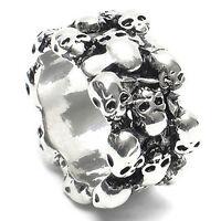 UK_ Men's Gothic Skull Finger Charm Stainless Steel Punk Biker Knuckle Ring Nove