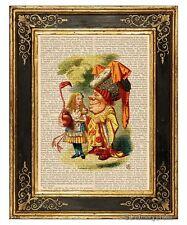 Alice in Wonderland Art Print on Antique Book Page Vintage Illust Duchess Color