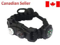 Outdoor Survival Paracord Bracelet LED Flint Fire Starter Compass Whistle Knife