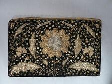 Vintage Gold Embroider Flower Design on Black Felt Clutch Purse Bag w Hand Strap