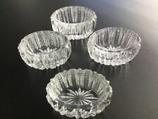Set 4 Vintage CRYSTAL Cut Glass Salt CellarOpen CUps Bowls Dishes Condiment Dips