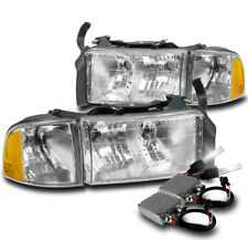 99-01 DODGE RAM 1500 SPORT CHROME HEADLIGHT W/CORNER TURN SIGNAL LAMP+50W 8K HID