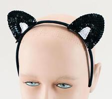 Black Sequin Cat Ears Headband Adult Fancy Dress Animal * Ladies Mens