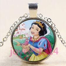 Vintage snow White Cabochon Tibetan silver Glass Chain Pendant Necklace #3386