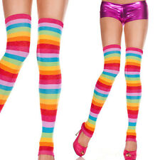 Rainbow Striped Colored Pride Acrylic Thick Footless Thigh-High Leg Warmers Set
