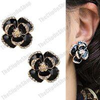 CLIP ON black 2cm big FLOWER crystal GOLD PLATED EARRINGS enamel 3D ROSE chunky