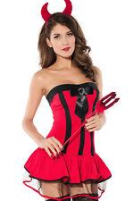 Red Devil Halloween Costume Cosplay Roleplay Dress Set Satin Bow 8134 Medium