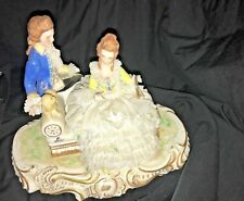 Antique Irish Dresden Muller Volkstedt Porcelain lace couple  dog couch Figurine