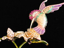 "NIB NAPIER LILY FLOWER FLYING HUMMER HUMMINGBIRD BIRD PIN BROOCH JEWELRY 2.5""LRG"