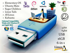 Linux 6-in-1 Operating Systems Install Recovery MultiBoot USB Flash Thumb Drive