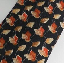 "Black Copper Orange Abstract Silk Tie 3.9"" Wide 58"" Long"