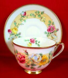 ROYAL DOULTON Cup and Saucer ROSAMUND China ROSES Tea Set ART DECO Vintage 1930s