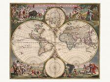 Old Antique Decorative World Map de Wit ca. 1682