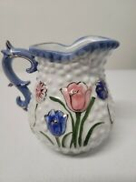 Vintage White Hobnail Pitcher With gold gilding And Flowers Floral