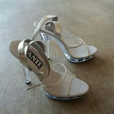 SEXY CLEAR PVC JANTE STILETTO HIGH HEEL Shoes-sz 5 NEW 4.5 Heel w/ANKLE STRAP