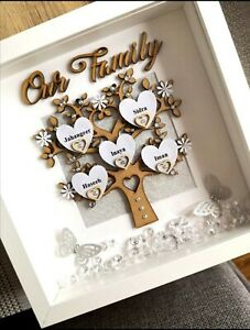 PERSONALISED FAMILY TREE, Gift 3D Box Frame, Xmas, Birthday,Wedding,Anniversary