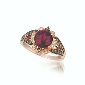 LeVian 14K Rose Gold Rhodolite Garnet Round Brown Diamond Pretty Cocktail Ring