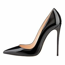Women Black High Heel Pointed Toe Classic Stiletto Pumps with SizeUS10,11,12,13