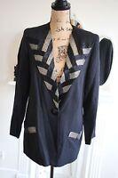 Ladies Gina Bacconi Beaded Silver Black Blazer Suit Jacket 10 12 Formal Medium